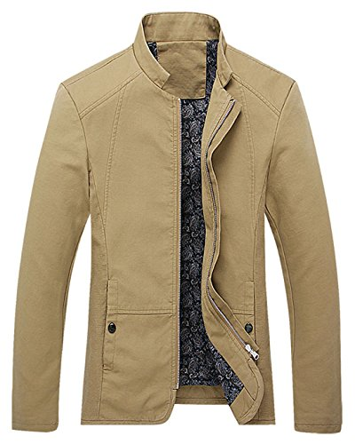 - chouyatou Men's Vintage Banded Collar Zip-Front Lightweigth Cotton Casual Jacket (Small, Khaki)