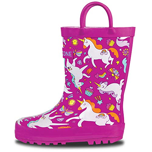 - LONECONE Rain Boots with Easy-On Handles in Fun Patterns for Toddlers and Kids, Mary The Unicorn, 10 Toddler
