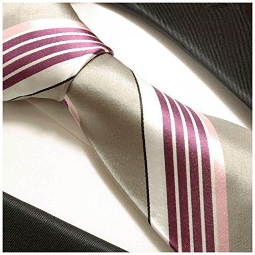 Cravate homme rose gris rayée 100% cravate en soie ( longueur 165cm )