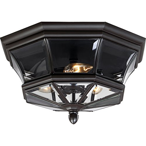 Quoizel NY1794Z Newbury 3-Light Outdoor Flush Mount, Medici Bronze