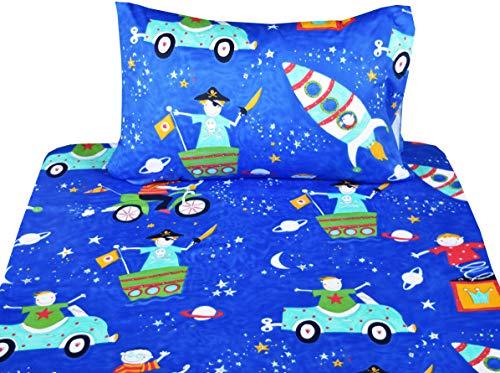 (J-pinno Boys Dreaming Pirate Magic Twin Sheet Set for Kids Boy Children,100% Cotton, Flat Sheet + Fitted Sheet + Pillowcase Bedding Set)