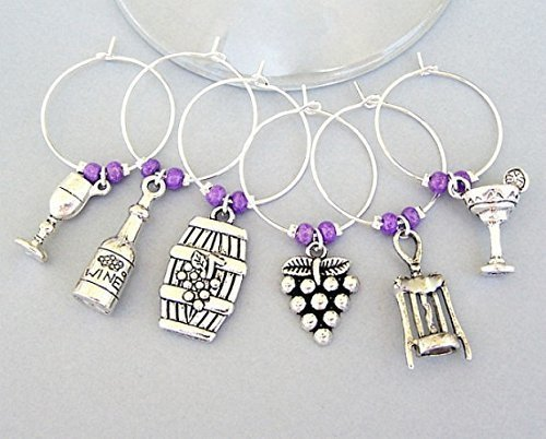(6 Wine Glass Charms Markers, Goblet, Bottle, Barrel, Grapes, Corkscrew and Margarita Drink)