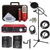Home Recording Studio Bundle MXL 550/551R SR350 Stand Focusrite Scarlett 2i4 (2nd GEN) Samson Media ONE BT3 Speakers