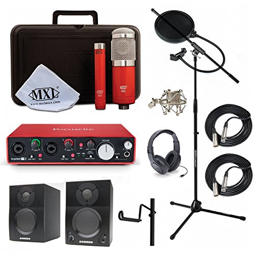 (Home Recording Studio Bundle MXL 550/551R SR350 Stand Focusrite Scarlett 2i4 (2nd GEN) Samson Media ONE BT3 Speakers)