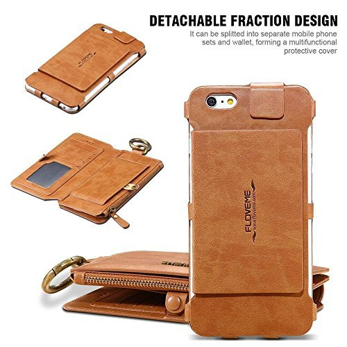 9cec5b29635 Amazon.com: FLOVEME Vintage Wallet Case for iPhone 8 Plus, 2 in 1 PU  Leather Zipper Multi-functional Handbag Removable Magnetic Kickstand Cover  Flip 18 Card ...