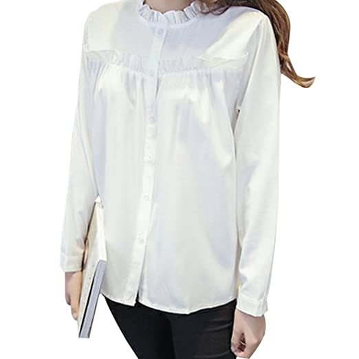 62f66f229fb Image Unavailable. Image not available for. Color  Womens Ruffled Collar  Peplum Long Sleeve Button Down ...