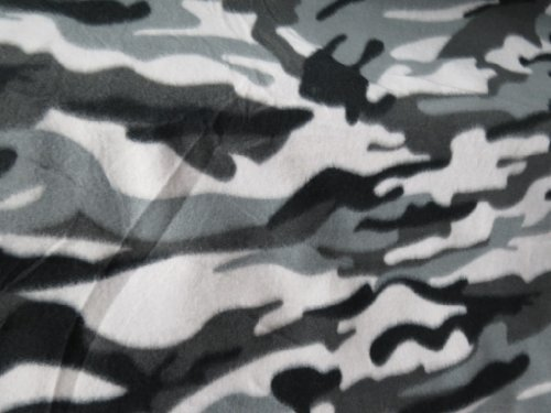 1 X Grey Camouflage Fleece 58 Inch Fabric By the Yard (Wool Fleece Fabric)
