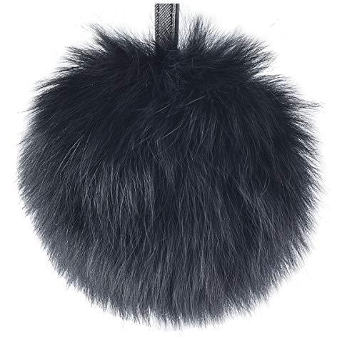 - Rabbit Fur Ball Pom Pom Keychain Puff Ball Keyring Cityelf Fluffy Accessories Car Bag Charm (FROST BLACK LARGE)