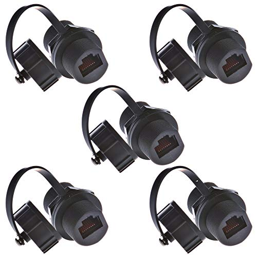 Anmbest 5PCS Panel Mounting RJ45 Waterproof Cat5/5e/6 8P8C Connector Ethernet LAN Cable Connector Double Head Coupler Adapter Female to Female with Waterproof/Dust Cap ()