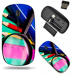 Liili Wireless Mouse Travel 2.4G Wireless Mice with USB Receiver, Click with 1000 DPI for notebook, pc, laptop, computer, mac book Colorful pencils lens book and ruler on colored paper Image ID 228299