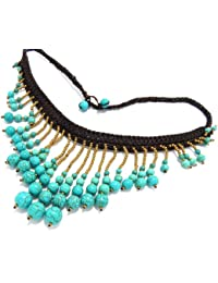 "Luxury Bib Bauble Necklace 18-19"" Turquoise SemiGem Stone Balls 90-890-2661"