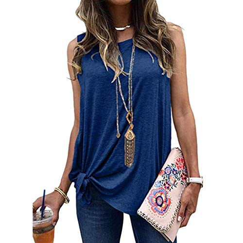 - COOKI Women's Summer Twist Front Tank Tops Casual Loose Sleeveless Basic Shirts Plus Size Camis Tunic T-Shirt Blouse Blue