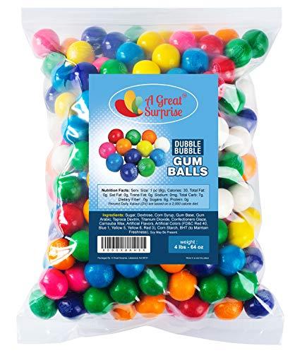 Dubble Bubble Gumballs - APX. 240 Gumballs - 4 Pounds - Gumballs Refill - Gumballs 1 Inch - Bulk Candy