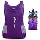 YOULERBU Light Packable Backpack,25L Daypack Waterproof Duarble Foldable Day Pack Carry on Bag Travel Outdoor Hiking for Women Men Purple