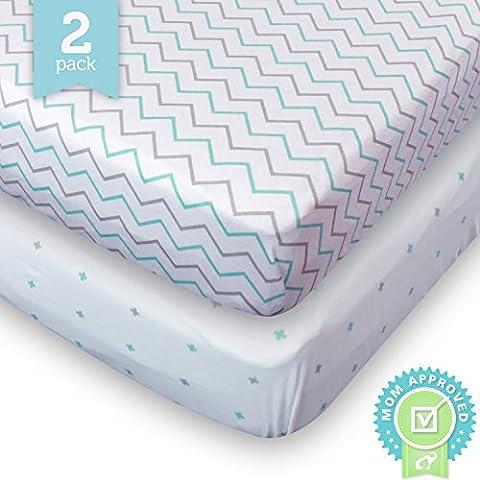 Crib Sheets, Toddler Bedding Fitted Jersey Cotton (2 Pack) Blue, Grey, Chevron, Cross - Blue Plush Mattress Set