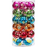 Sea Team 30 Piece Set | Colorful & Glittering Shatterproof Christmas Balls Ornaments | Christmas Tree Decoration Baubles | Size 60mm/2.36""