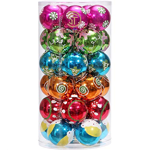 Sea Team 30 Piece Set | Colorful & Glittering Shatterproof Christmas Balls Ornaments | Christmas Tree Decoration Baubles | Size 60mm/2.36