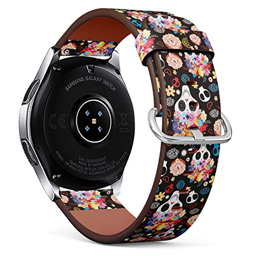 S-Type Leather Bracelet Watch Band Strap Replacement Wristband Compatible with Samsung Galaxy Watch 42mm / 46mm - The Pattern of Skulls Beautiful Illustration