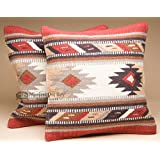 Mission Del Rey Pair -Southwestern Woven Wool Pillow Covers 18x18 -Hopi