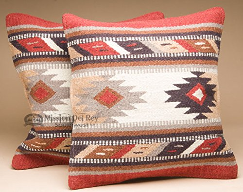 Mission Del Rey Pair -Southwestern Woven Wool Pillow Covers 18x18 - Panel Cowboy Pillow