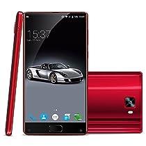 "Elephone S8 Unlocked Smartphone, 6.0 "" 2K Screen Android 7.1 4G Telefono Cellulari, HelioX25 Deca Core 2.5GHz, 4GB RAM 64GB ROM 21.0MP+8.0MP Camera, Fingerprint Recognition, Dual Sim, Gravity Sensor, WiFi/GPS Cellulare -Rosso"
