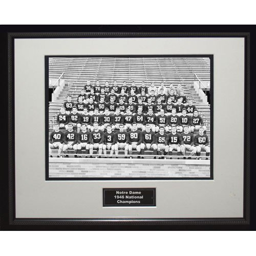 NCAA Notre Dame Fighting Irish 1946 National Championship Team Portrait Framed Igned 16x20 Photo by Steiner Sports