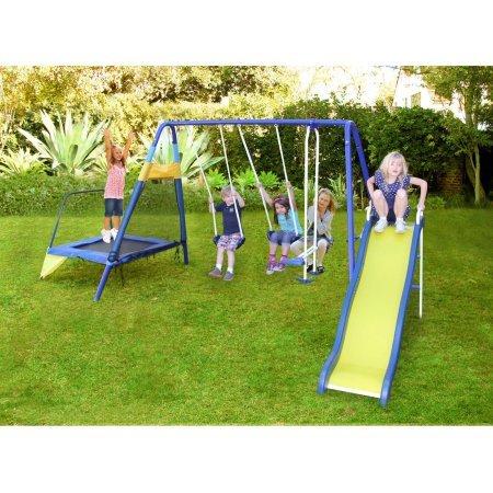 Sportspower-Almansor-Metal-Swing-Slide-and-Trampoline-Set