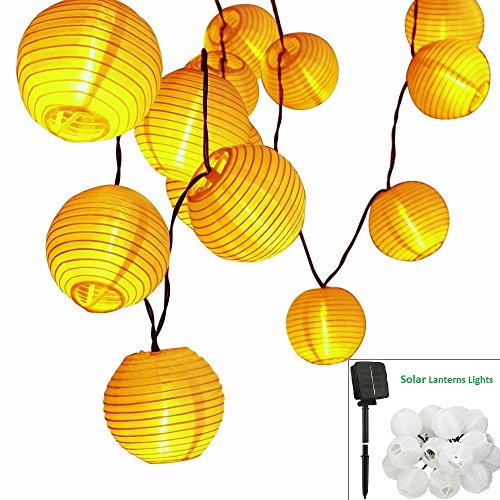 Solar LED Lanterns String Lights, ALED LIGHT 21.3Ft 6.5M 30 LED Waterproof Outdoor Decorative Stringed LED String Lights Lanterns for Party,Christmas,Garden,Patio,Halloween, Decoration (30LED-21.3ft) (8 Light Outdoor Hanging Lantern)