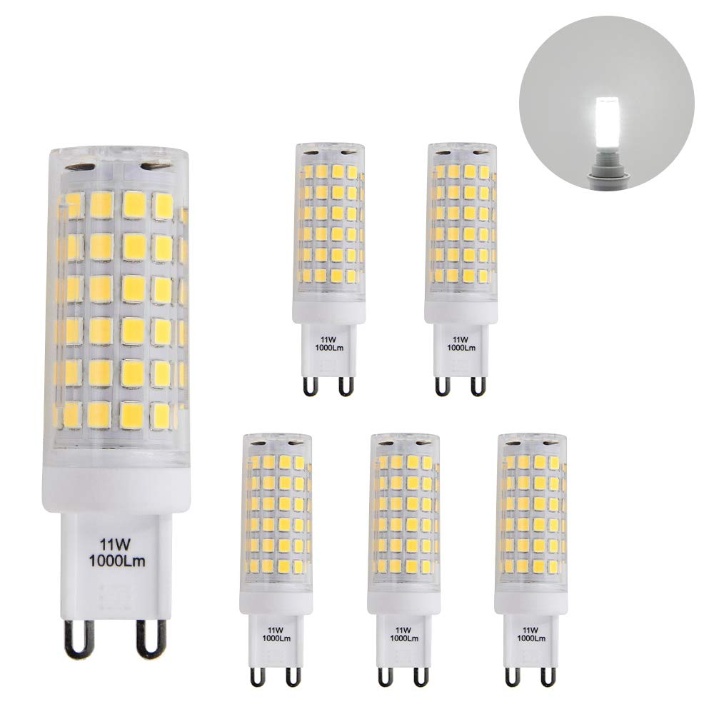 The Brightest G9 GU9 LED Small Corn Capsule Light Bulbs 11W 1000Lm Cool White 6000K AC110-120V Omnidirectional Lighting Much Brighter than 60W G9 Halogen Light Bulb, 6 Pack by Enuotek