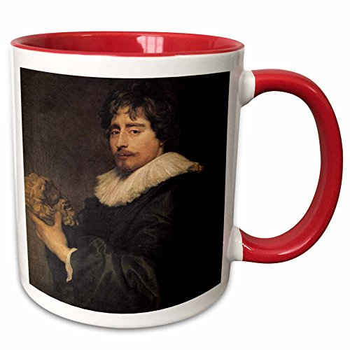 3dRose BLN Paintings of Kings, Queens and Royalty - Francois Duquesnoy, 1627-29 by Anthony Van Dyck - 15oz Two-Tone Red Mug (mug_170043_10)