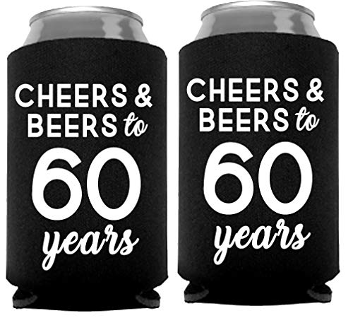 Cheers & Beers to 60 Years Can Coolers, 60th Birthday Party Coolies, Set of 12, Black and White Thirtieth Birthday Cup Coolers, Perfect for Birthday Parties, Birthday Decorations (60 Years)