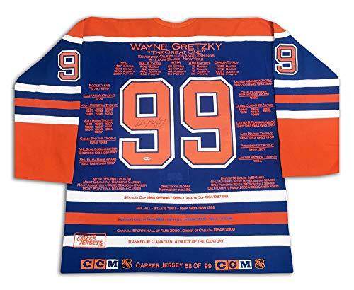 AJ Sports World Wayne Gretzky Edmonton Oilers Autographed Career Stats Hockey Jersey LE/99