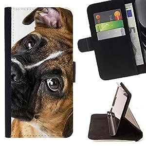 - Boxer Breed Canine Dog Pet Eyes Muzzle - - Prima caja de la PU billetera de cuero con ranuras para tarjetas, efectivo desmontable correa para l Funny HouseFOR Samsung Galaxy S4 IV I9500