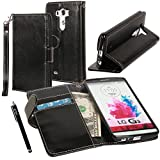 (US) LG G3 Case, LG G3 Flip Case - E LV LG G3 Deluxe PU Leather Folio Wallet Full Body Protection Case Cover for LG G3 with 1 Stylus - Black
