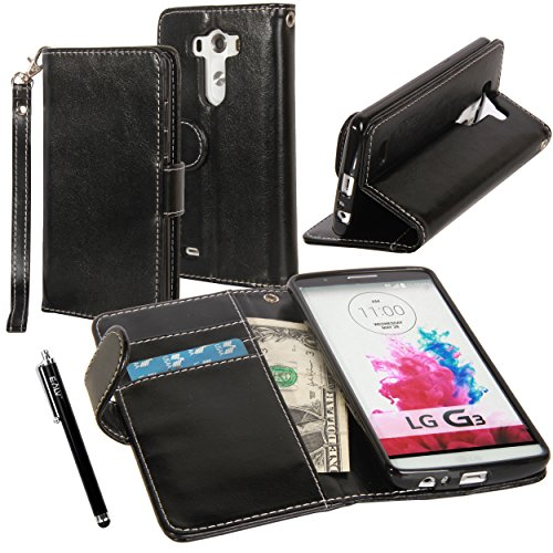 LG G3 Case, LG G3 Flip Case - E LV LG G3 Deluxe PU Leather Folio Wallet Full Body Protection Case Cover for LG G3 with 1 Stylus - Black
