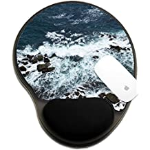 Luxlady Mousepad wrist protected Mouse Pads/Mat with wrist support design IMAGE ID: 34355569 Waves rocks stones on the Ocean from above View from lighthouse Matara Ceylon Sri Lanka
