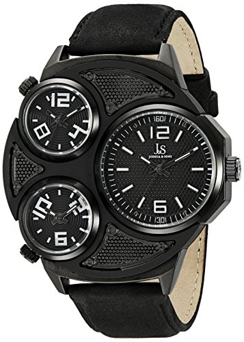 Joshua & Sons Men's JX105BK Black Triple Time Zone Quartz Watch with Black Dial and Black Leather (Swiss Time Zone)