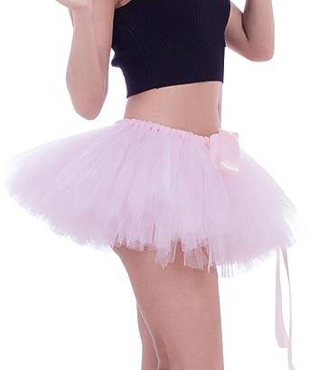 1fb83b0d9a FEOYA - Mujer Adulto Faldas Tutú Cortas Disfraces de Ballet Danza Traje de Falda  Tul Hinchadas Enaguas con Múltiples Capas Gasa Suave Carnaval Fiesta - Rosa  ...
