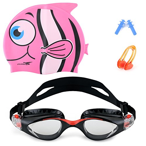 Swim Goggles, Mee'sport Swimming goggles and Silicone Swim Cap UV Protection Anti-shatter Anti-fog Free Ear Plugs and Nose Clip for Kids and Early Teens from 6 to 16 Years Old, Black and Pink Cap