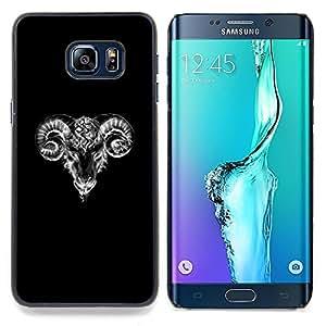 """For Samsung Galaxy S6 Edge Plus / S6 Edge+ G928 Case , Cabra Negro Blanco Minimalista Arte Sketch"""" - Diseño Patrón Teléfono Caso Cubierta Case Bumper Duro Protección Case Cover Funda"""