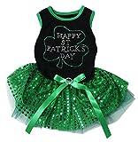 Petitebella Happy St Patrick's Day Black Shirt Green Sequin Tutu Puppy Dog Dress (XX-Large) Review