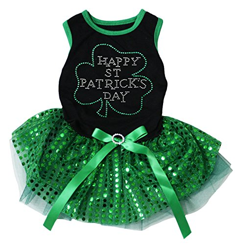 Petitebella Happy St Patrick Day Black Shirt Green Sequins Tutu Puppy Dog Dress (Medium) -