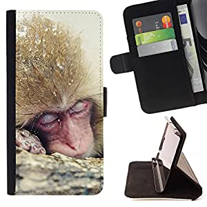 King Air - Premium PU Leather Wallet Case with Card Slots, Cash Compartment and Detachable Wrist Strap FOR LG Optimus G2 D800 D801 D802 D803 VS980 F320- Monkey Cute Animal