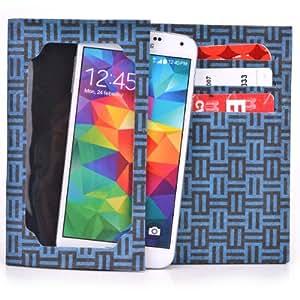 Tyvek Wallet for Smartphones - LG Venice Paper Wallet (Blue Maze)