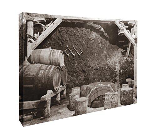JP London CNV2219 Bootleg Wine Cellar Casks Black White Canvas Art Wall Decor, 1.5' x 2'