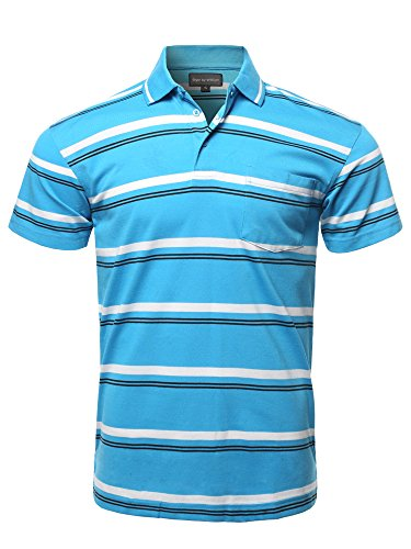 Style by William Casual Summer Basic Striped Chest Pocket Short Sleeve Polo T-Shirt Blue M