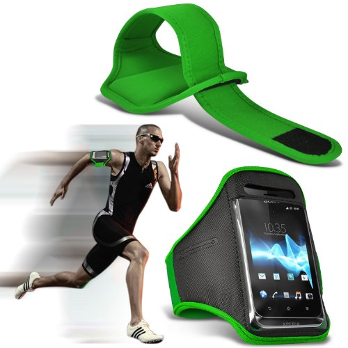 Green 9630 Tour - ( Green ) Blackberry Tour 9630 Sports Running Jogging Ridding Bike Cycling Gym Arm Band Case Pouch Cover By ONX3®