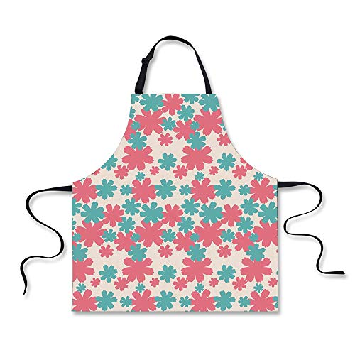 iPrint BBQ Apron,Garden,Big Bold Growing Flowers Burst Lush Grand Forest Plants Pastel Colored Artwork,Teal Pink White, Apron.29.5
