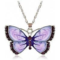 ERAWAN Womens Fashion Jewelry Enamel Butterfly Crystal Silver Pendant Necklace Chain EW sakcharn