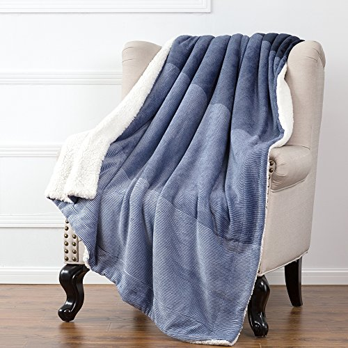 Sherpa Throw Blankets Gradient Blue Twin Size Fleece Bed Blankets, Reversible Fuzzy Soft Cozy and Warm Sofa Fluffy Blanket 60